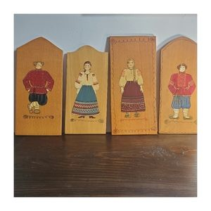 Vintage Hand-Painted German Wall Plaques